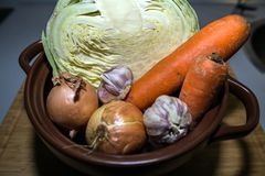 Couve, cenoura, cebola e alho no fundo do potenciômetro e da bandeja imagem de stock