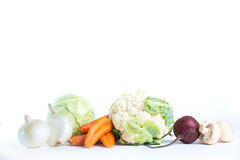Couve da coleção e legumes frescos em um fundo branco Imagens de Stock Royalty Free