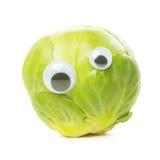 Couve de Bruxelas engraçada com olhos foto de stock