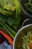 Couve-de-milão, aipo, cebola, cenoura Foto de Stock