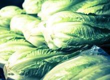 Couve de Napa no contador no mercado Foto de Stock Royalty Free