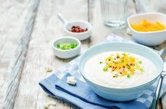 Couve-flor despedaçada com bacon friável, queijo Cheddar e as cebolas verdes Imagens de Stock