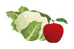 Couve-flor e maçã ilustração royalty free