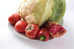 Couve-flor, pimenta, tomate e pepino Fotografia de Stock