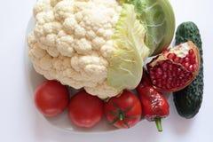 Couve-flor, pimenta, tomate e pepino Foto de Stock Royalty Free