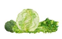 Couve verde, brócolis e aipo isolados no branco Fotografia de Stock