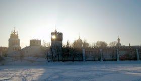 Couvent de Novodevichy dans la neige Photographie stock