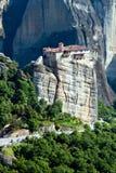 Couvent Roussanou sous la roche, Meteora, Grèce images libres de droits