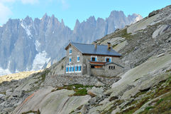 Couvercle mountain cabin. The couvercle mountain hut, high in the mont blanc massif above Chamonix and the mer de glace glacier Royalty Free Stock Photography