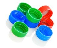 Couvercles en plastique colorés Photo libre de droits