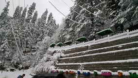 Couvert de neige de beau Pakistan gali de déplacement hypnotisant de nathiya d'hiver de destination de beauté de l'Asie images stock