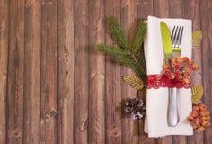 Couvert de table de Noël de fond du ` s de vacances image stock
