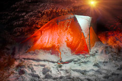 Couvert de tente de neige Photographie stock