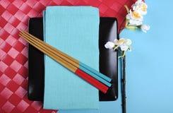 Couvert oriental japonais moderne de Tableau de thème rouge et bleu Photo libre de droits