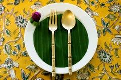 Couvert thaïlandais de café de thé et de dessert Image stock
