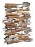 Couverts de vintage Rétro couteau, fourchette et cuillère d'ustensiles de cuisine image stock