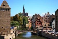 couverts france ponts strasbourg Royaltyfri Fotografi