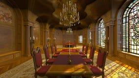 couverts proches dinant la table ronde de pièce en verre vers le haut Images stock