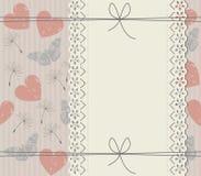 Couverture élégante avec le cadre, les pissenlits, les papillons et le coeur de dentelle Image stock