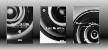 Couverture abstraite noire et blanche de brochure Photos stock