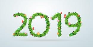 Couverture de calendrier de nouvelle année de l'herbe verte 2019 Photographie stock libre de droits