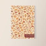 Couverture de carnet de notes à spirale d'automne de vecteur avec le modèle d'automne illustration libre de droits
