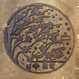 Couverture de Cherry Blossom Manhole au parc d'Ueno à Tokyo photo libre de droits