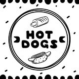 Couverture de hot-dog pour le café Illustration de concept de croquis Insecte de nourriture Photos libres de droits