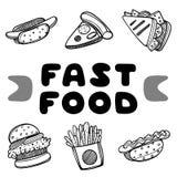 Couverture de hot-dog pour le café Illustration de concept de croquis Insecte de nourriture illustration de vecteur
