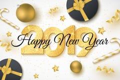 Couverture de la bonne année 2019 Nombres de scintillements d'or Cadre de cadeau Boules, étoiles, confettis, lucettes et serpenti illustration stock