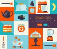 Couverture de livre de cuisine dans des couleurs lumineuses Grandes icônes de cuisinier de vecteur réglées Collection d'articles  Image libre de droits