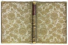 Couverture de livre ouverte de vintage avec le modèle floral - tissu brodé avec le fil d'or - vers 1905 - taille de XL Photographie stock libre de droits