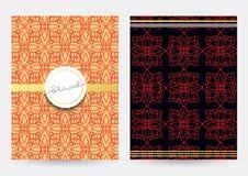 Couverture de magazine avec les modèles géométriques Calibre de page de couverture Photographie stock
