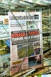 Couverture de magazine italienne de sport de Gazzetta Dello de La Photographie stock