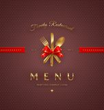 Couverture de menu avec les couverts d'or illustration stock