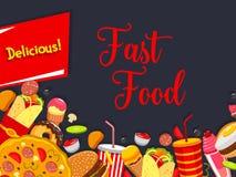 Couverture de menu d'aliments de préparation rapide avec l'hamburger et la boisson d'ordure Photographie stock