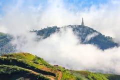 Couverture de montagne par le brouillard Photos stock