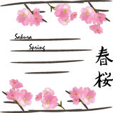 Couverture de ressort avec des fleurs de cerisier Photos libres de droits