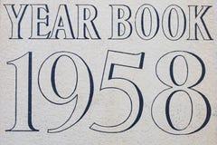Couverture du livre d'année 1958 Photo stock