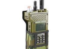 Couverture portative par radio militaire, vue étroite Image stock