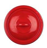 Couverture rouge de pot en métal Images libres de droits