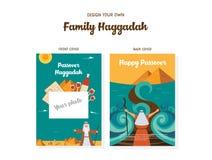 Couvertures de livre de haggadah de calibre de conception de Haggadah de pâque L'histoire de l'exode de juifs d'Egypte icônes tra illustration de vecteur