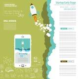 Couvertures de page Web de démarrage d'atterrissage ou de conception d'entreprise à employer pour le Web illustration libre de droits
