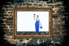 Couvertures de peintre de Chambre à l'intérieur de cadre vide Photographie stock