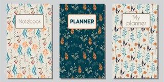 Couvertures florales de planificateur et de carnet Photos libres de droits