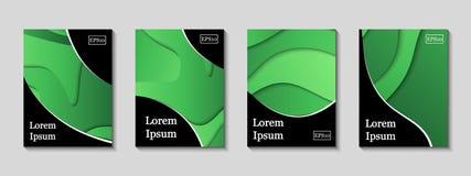 Couvertures minimales de vecteur réglées Futur modèle à la mode de gradient illustration stock