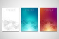 Couvertures ou brochure de vecteur pour la médecine, la science et la technologie numérique Fond abstrait géométrique avec des he illustration stock
