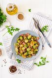 Couves de Bruxelas Roasted com bacon Imagem de Stock
