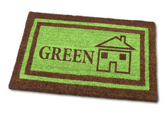 Couvre-tapis bienvenu à la maison vert Photographie stock libre de droits