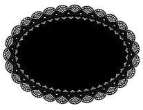 couvre-tapis de place noir ovale de napperon de lacet de +EPS Photo stock